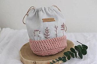 Úžitkový textil - ľanové háčkované vrecúško - púdrovoružová   miniberry - 13310379_