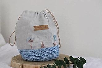 Úžitkový textil - ľanové háčkované vrecúško - svetlomodré   miniberry - 13310407_