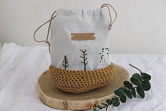Úžitkový textil - ľanové háčkované vrecúško - horčicové   miniberry - 13310446_