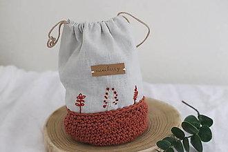 Úžitkový textil - ľanové háčkované vrecúško - škoricové   miniberry - 13310448_
