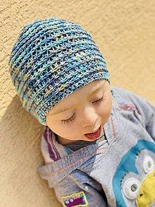 Detské čiapky - Prechodná čiapka - KolomDokola, vhodná aj pre malé Onkoláčičky  (Modrá) - 13310321_