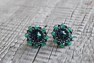 Náušnice - náušnice kvietky SW (náušnice kvietky SW emerald / black) - 13312512_