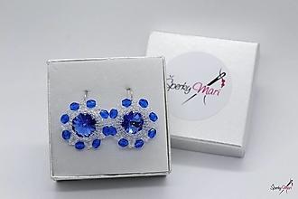 Náušnice - náušnice kvietky SW (náušnice kvietky SW modro-biele) - 13312812_