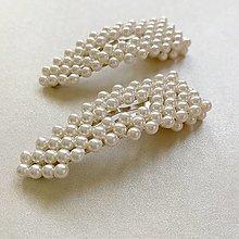 Ozdoby do vlasov - perlové sponky  (perlová spona do vlasov - pukačka smotanovo biela) - 13311472_