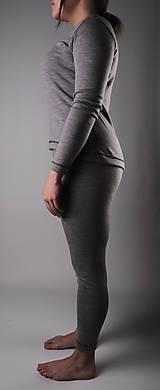 Nohavice - Dámske merino legíny v sivej farbe - 13314840_