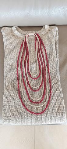 Náhrdelníky - Textilný šperk farebná kombinácia - 13314034_