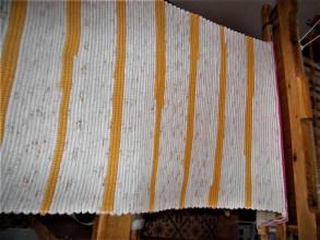 Úžitkový textil - Tkané koberce bielo-oranžové  2 kusy - 13311783_