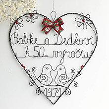 Dekorácie -  srdce pre starých rodičov k výročiu 25cm (folk) - 13315315_
