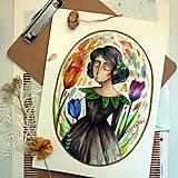 Kresby - Slečna trochu zemitá/ originál akvarelový obrázok - 13317283_