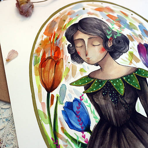 Slečna trochu zemitá/ originál akvarelový obrázok