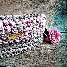 Košíky - Rose & Stone   štýlový háčkovaný košík - 13316531_