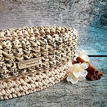 Košíky - Nougat Tiramisu   štýlový háčkovaný košík - 13316540_