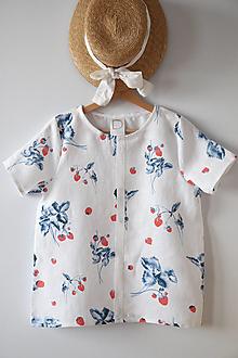 Topy - Akvarelové, ľanové tričko - 13317444_
