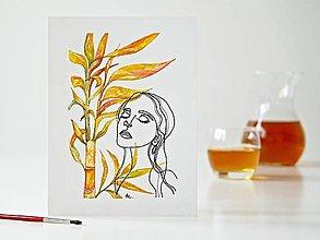 Obrazy - Palm bamboo a Dáma 8, akvarel, 18 x 24 cm - 13315149_