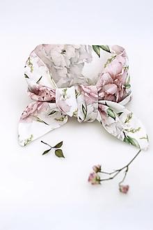 """Šatky - Jemná kvetinová šatka okolo krku/vlasov z ľanu """"Peony"""" - 13316819_"""