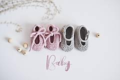 Detské topánky - Bavlnené balerínky pre bábätko - ružová/sivá - 13317230_