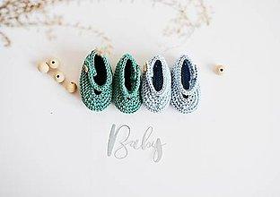 Topánočky - Bavlnené balerínky pre bábätko - modrá/tyrkysová - 13317142_