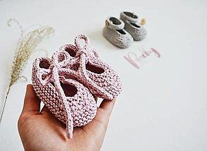 Topánočky - Bavlnené balerínky pre bábätko - ružová/sivá (ružová s mašličkou - 3 až 6 mes.) - 13317189_