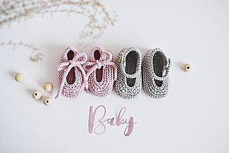 Topánočky - Bavlnené balerínky pre bábätko - ružová/sivá - 13317230_