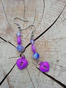 Náušnice - Náušničky dlhé fialové - 13315698_