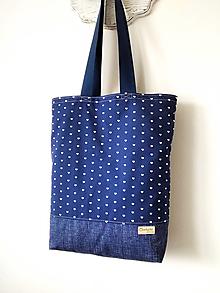 Nákupné tašky - Taška Srdiečka na tmavomodrej - 13315224_