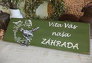 """Tabuľky - Drevená tabuľka """"Víta Vás naša záhrada"""" - 13315420_"""