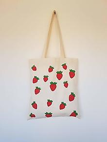 Nákupné tašky - •ručne maľovaná plátená taška - Jahody• - 13318000_