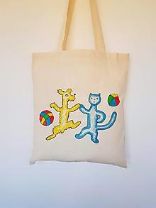 Nákupné tašky - •retro ručne maľovaná plátená taška - Psík a mačička• - 13318018_