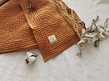 Úžitkový textil - Ľanová waflová deka  (karamel) - 13315031_