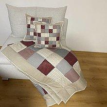 Úžitkový textil - Prehoz, vankúš patchwork vzor béžová s bordovou  ( rôzne varianty veľkostí ) - 13321285_