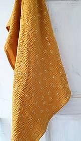 Šatky - Veľká mušelínová šatka - žltá farba so zlatou potlačou púpav - 13319619_