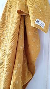 Šatky - Veľká mušelínová šatka - žltá farba so zlatou potlačou púpav - 13319621_