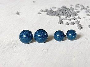 Náušnice -  Polgule modré (priemer 0,7 cm) - 13321304_