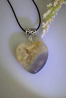 Náhrdelníky - prívesok krištálu s achátom - veľké srdce AKCIA! - 13320922_