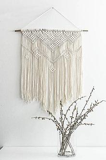 Dekorácie - Makramé závesná dekorácia na stenu - krémová - 13320967_