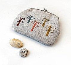 Peňaženky - Peňaženka XL Farebné stromy (s kapsičkou) v modrej - 13321024_