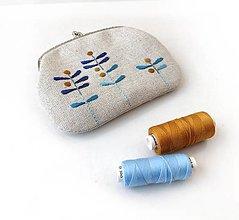 Peňaženky - Peňaženka XL Modré lístky (s kapsičkou) - 13321049_