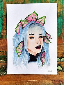 """Kresby - Botanické ArtDeco """"PunkRock lady Princess """" - 13319269_"""