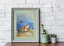 Obrazy - Akvarelová maľba-korytnačka - 13319153_