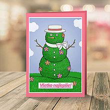 Papiernictvo - Celoročný snehuliak - pohľadnica (jar) - 13320665_