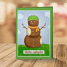 Papiernictvo - Celoročný snehuliak - pohľadnica (jeseň) - 13320689_