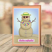 Papiernictvo - Celoročný snehuliak - pohľadnica (leto) - 13320692_