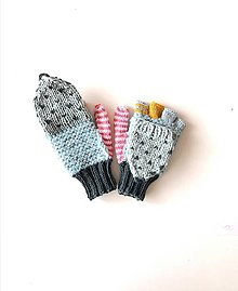 Detské doplnky - Detské odklápacie rukavice s ružovým palcom - 13321703_