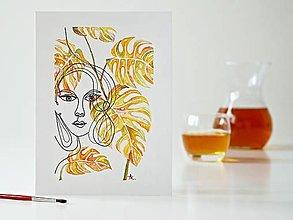 Obrazy - Monstera a Dáma 9, akvarel, 18 x 24 cm - 13321779_