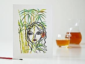 Obrazy - Palm bamboo a Dáma 10, akvarel, 18 x 24 cm - 13321827_