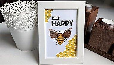 Obrázky - Bee HAPPY obrázok v rámiku - 13322795_