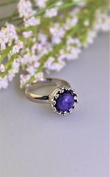 Prstene - prsteň strieborný s čaroitom (ródiované striebro!) SUPERCENA! - 13324001_