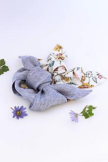 Šatky - Šatky okolo krku a do vlasov z ľanu a kvetinovej bavlny - 2kusy - 13323484_