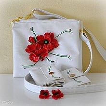 Kabelky - Maková sada - kabelka, peňaženka, dokladovka, náušnice - 13323023_