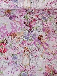 Textil - Dizajnová bavlnená látka Petal Flower Fairies Pink - 13326075_